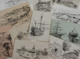 Collection of Fifty-Five Original Drawings of Cities and Villages in Spain and French Basque...