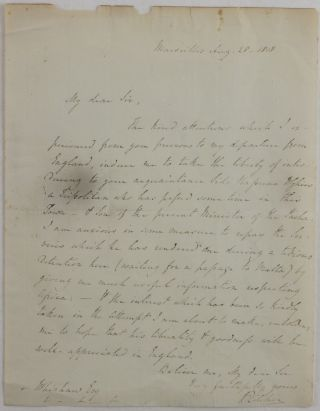 Interesting Autograph Letter to John Whishaw, Secretary of the African Institution, Written at...