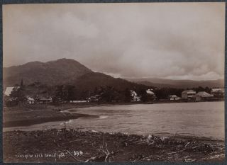 """[Album with Eighty-Five Original Albumen and Platinum Photographs of Samoa, Including Six Panoramas of Apia Harbour, Views of Apia (Mulinu'u village, Immaculate Conception Cathedral, German Courthouse), Villa Vailima of R.S. Stevenson, Mount Vaea, Waterfalls on Upolu Island (Falefa, Papaloloa, Papase'ea, Falealili), Villages on Upolu Island (Falevao, Salani, Lalomauga, Falese'ela, Vaiee), Savaii Island (Matautu village, Safuni Lake), Tutuila Island (Pago Pago), Three Rare Views of Apolima Island, Portraits of the First Governor of German Samoa, Native Members of """"Lieut. Gaunt's Brigade,"""" Samoans in a War Canoe, Six Photos of the Wrecked German and American Naval Ships after the 1889 Apia Hurricane, etc.]."""